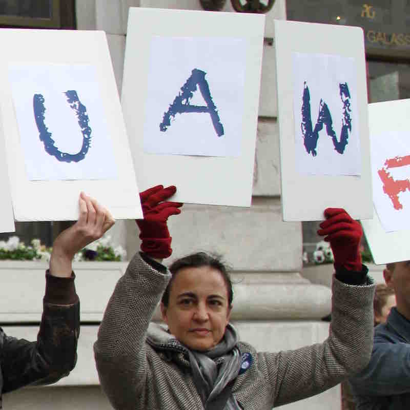 Núria at the BCF-UAW rally outside Barnard's Annual Gala on May 3 at the Plaza Hotel.